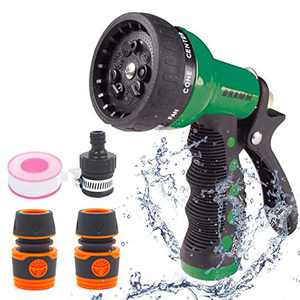 SUDESMO Garden Hose Nozzle, High Pressure Garden Hose Sprayer with 8 Adjustable Patterns, Hose Nozzle for Plant, Washing Car, and Showering Pet (Green)