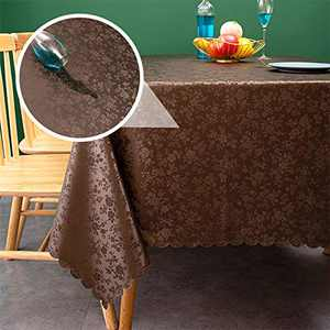 sancua Waterproof Vinyl PU Tablecloth, 54 x 78 Inch, Durable Washable Spill Stain Proof Rectangle Table Cloth, Floral Wipeable Table Cover for Dining & Kitchen Table, Indoor & Outdoor, Rose Chocolate
