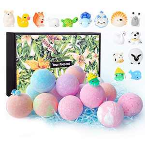 LadyRosian 15 Pack Bath Bombs With Toys Inside - Handmade Essential Oil Spa Fizz Balls Kit - Bubble Bath Fizzies , Gift for Christmas or Birthday