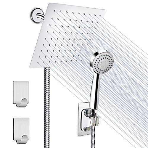 Shower Head, HUOSUC 8 Inch High Pressure Showerhead, Stainless Steel Rainfall Shower Head with Handheld Shower, 3 Channels Water Diverter, 60 Inch Hose, Holder, Flow Regulator, Shower Hooks