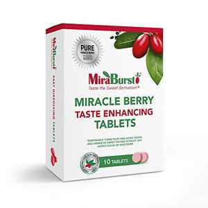 MiraBurst Miracle Berry Tablets - Turns Sour, Tart or Acidic Food and Drinks Sweet, As Seen On Tik Tok, Produced from 100% Pure Miracle Fruit Powder, Great for Kids & Diabetics (10 Count)