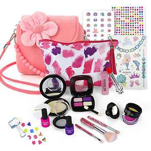 RuRu monkey Princess Purse Style Set – Pretend Play Multicolor Handbag and Fashion Accessories – Toy Makeup, Keys, Lipstick, Eye-Shadow, and More for Kids Ages 3 and Up