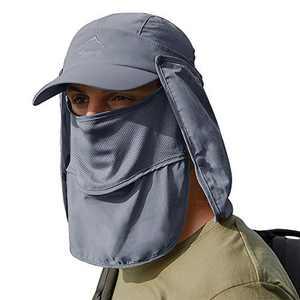 Yidarton Sun Cap Fishing Hats with Face Mask Baseball Caps UV Protection Visor Caps Windproof Flap Cover(Deep Gray)