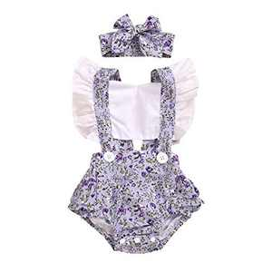 Gifunes 3PCS Toddler Girl Outfits Ruffle Sleeve Romper Top + Floral Short Pants + Floral Headband Baby Summer Clothes Set (Purple Romper, 18-24months)