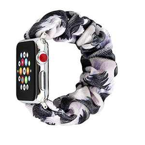 SEARME TREND Scrunchie Elastic Band Compatible for Apple series 6 Watch Band 38mm 40mm 42mm 44mm, women Cloth Pattern Printed Replacement Wristband for IWatch Series 5 4 3 2 1 and SE,Black Leopard