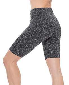 "Nirlon Women's Biker High Waist Workout Yoga Shorts Sides Pockets 9"" Inseam (X-Large, SD Black)"