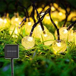 Vindany Outdoor Solar String Lights - 60 LED Decorative Fairy Lights String Light Solar Crystal Globe Waterproof Party Lights for Christmas Garden Wedding
