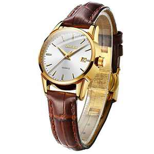 OLEVS Gold Watches for Women Fashion Comfortable Leather Strap Waterproof Easy Reader Quartz Wrist Watch Gifts for Women (Brown Leather-White Dial)