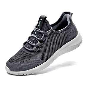 Lamincoa Women's Slip On Walking Shoes Memory Foam Breathable Lightweight Tennis Running Gym Jogging Sneakers Casual Sports Shoes Gray 9