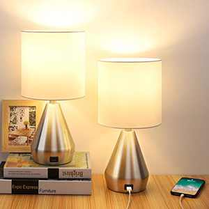 Touch Control Table Lamp, 3 Way Dimmable Bedside Desk Lamps with USB Port, Retro Silver Metal Body,White Fabric Shade Nightstand Lighting for Bedroom Livingroom,Dual 6W LED Bulbs Included(2 Pack)