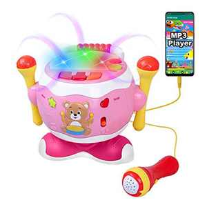 Drum Musical Baby Toy, Rabing Toddlers Kids Toys Girls Boys Music Drum Toy with 360° Free Rotation, Baby Musical Instruments for 1-5 Years Kids Learning Educational Toy Birthday Gift