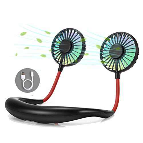 Portable Mini Neckband Fan, Personal Hanging Lazy Hands Free USB Fans - 3 Speeds, 7Color LED Light, Aromatherapy, Rechargeable 360° Free Rotation for Ourdoor Office Sport (Black, Version-3)
