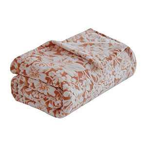 "FY FIBER HOUSE Flannel Fleece Throw Blanket Super Soft Lightweight Microfiber with Flower Print for Couch, 60""X80"", Orange"