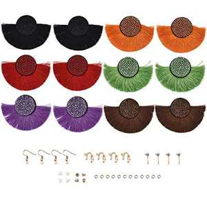 YAKAMOZ 6Pairs Earring Accessories 6 Colors Tassels Earring with Earring Backs,Earring Hooks,Stud for DIY Earring Craft Supplies