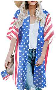 Women's 4th of July Clothing American Flag Print Shirt Summer Cardigans Kimono Beach Cover Up Tops (Blue Flag Print,S)