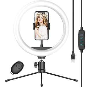 "10"" Selfie Ring Light with Tripod Stand & Phone Holder, Dimmable Desk LED Makeup Ring Light for Live Streaming/Zoom Meetings/YouTube Video/Volg, Compatible with Smart Phones"