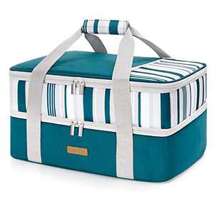 "LUNCIA Double Decker Insulated Casserole Carrier for Hot or Cold Food, Lasagna Holder Tote for Potluck Parties/Picnic/Cookouts, Fits 9""x13"" Baking Dish, Green"