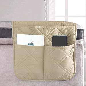 TOMORO Non-Slip Sofa Armrest Organizer - Waterproof Couch Chair Arm Storage Slipcover with 3 Pockets for Cell Phone TV Remote Control Magazines, Beige, 2 Pack