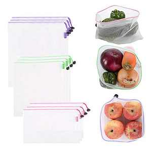 9 Pack Reusable Mesh Bags, Produce Bags 3 Sizes Washable and See-Through Organza Bags for Grocery Shopping, Fruits and Vegetables, with Colorful Tare Weight Tags, Toxic Free & Zero Waste