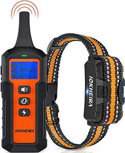 IOKHEIRA Dog Shock Collar with Remote for Large Dogs Waterproof Training Collar Rechargeable Receiver with Shock Vibration Beep Modes, 1800 Ft Remote Range Collars for Medium Large Dog