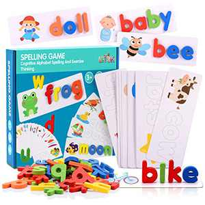 See and Spell Learning Toys, Matching Letter Spelling Game Sight Words Games Educational Preschool Toys Learning Toys for 2-4 Year Old Girls Boys - Idea Xmas Gifts ( 52 Alphabet Blocks)