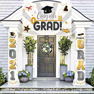 Graduation Decorations Banners - Class of 2021 & Congrats Graduation Hanging Banner Set for Outdoor/Indoor Home Front Door Wall, Great Fabric Porch Sign