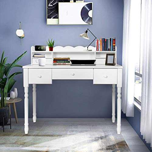 White Writing Desk with Detachable Hutch& 5 Drawers,Modern Computer Workstation for Home Office,Vanity Table