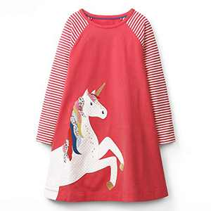 VIKITA Toddler Girls Cotton Winter Long Sleeve Casual Cartoon Appliques Striped Dresses JM7659 8T