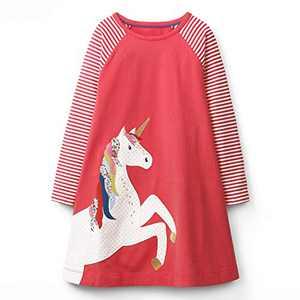 VIKITA Toddler Girls Cotton Winter Long Sleeve Casual Cartoon Appliques Striped Dresses JM7659 7T