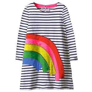 VIKITA Toddler Girls Cotton Winter Long Sleeve Casual Cartoon Appliques Striped Dresses JM7685 8T