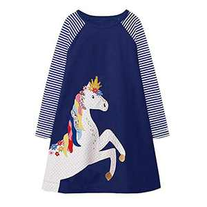 VIKITA Toddler Girls Cotton Winter Long Sleeve Casual Cartoon Appliques Striped Dresses JM7655 7T