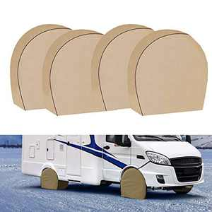 "Tire Covers for RV Wheel Set of 4 Extra Thick 5-ply Motorhome Wheel Covers, Waterproof UV Coating Tire Protectors for Trailer Truck Camper Auto (600D 24"" - 26.5"")"