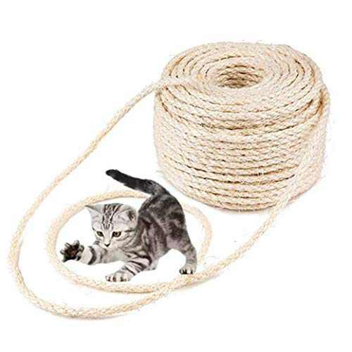 MXiiXM Sisal Rope, Diameter 6mm Premium Durable Unoiled Sisal Twine - 100% Natural Twisted Fiber Twine Hemp Rope for Repairing, Recovering or DIY Scratcher for Cat Tree Tower (6mm, 66FT, Sisal)