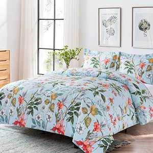 Shatex Twin XL Comforter Sets 2 Pieces Bedding Comforter Sets Floral Print Quilt Set– Ultra Soft 100% Microfiber Polyester – Flower Branch Comforter with 1 Pillow Shams (Flower Branch, Twin)