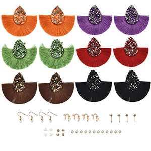 YAKAMOZ Earring 6Pairs Tassels Earring Keychain with Earring Backs,Earring Hooks for DIY Earring Craft Supplies (A08)