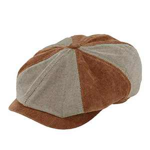 MIX BROWN Newsboy Cap for Men, Men's Classic 8 Panel Flat Cap Herringbone Collection Ivy Driving Hat (Gray Brown, Large)
