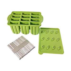 Popsicle Molds Silicone Ice Pop Mold - Ice Cream Containers with 50 Popsicle Sticks Green