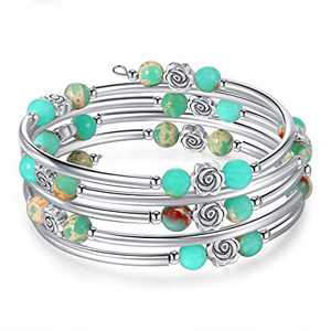 kese Chakra Bracelet, Multilayer Turquoise Bracelet Women Crystal Bracelet Natural Stone Bangle for Girls (Color M)