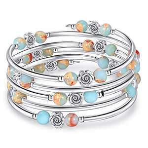 kese Chakra Bracelet, Multilayer Turquoise Bracelet Women Crystal Bracelet Natural Stone Bangle for Girls