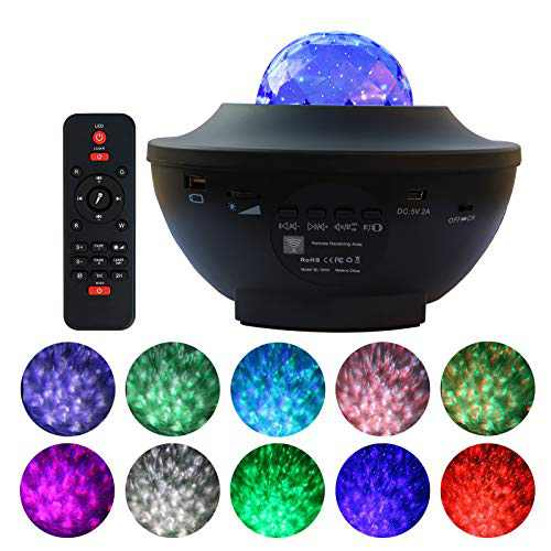 Night Light Projector for Kids, OwnZone Ocean Wave Projector Star Galaxy Light Projector with Bluetooth Speaker Music Rhythm Rotating LED Nebula Lights for Bedroom Home Theatre Party Wedding Birthday