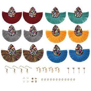 YAKAMOZ Earring 6Pairs Tassels Earring Keychain with Earring Backs,Earring Hooks for DIY Earring Craft Supplies (A07)