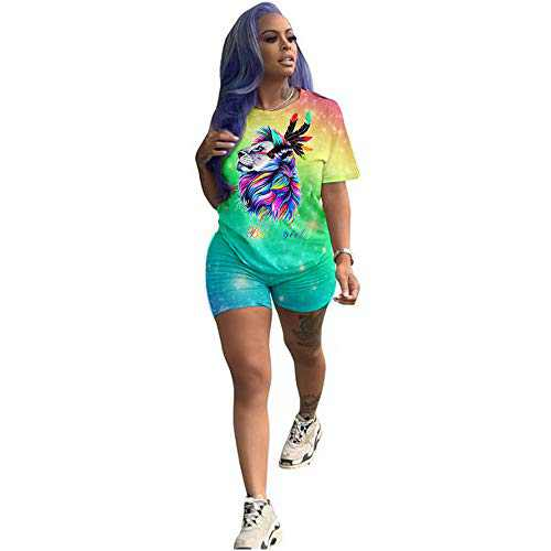 Fastkoala Women's 2 Pieces Outfits Clubwear Colorful Tie Dye Crop Top Shorts Joggers Tracksuit Sportswear Set Green Lion M