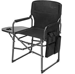 Ubon Camping Diretors Chair Portable Folding Chair for Adults with Side Table Black