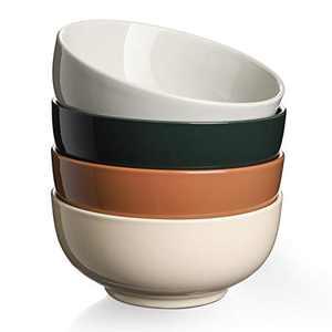 DOWAN Soup Bowls for Kitchen - 22 Oz Porcelain Large Serving Soup Bowls, Dishwasher and Microwave Safe Ceramic Bowl Set of 4, Multifunction Colorful Bowls for Soup, Cereal, Salad, Hot Assorted Color