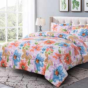 Shatex Bedding Sets King Size Bed Comforter Sets 3 Pieces Bedding Comforter Sets Botanical Pring Comforter Set – Ultra Soft 100% Microfiber Polyester –Flower Pattern Comforter with 2 Pillow Shams