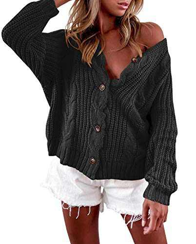 LAICIGO Women's Button Down Cardigan Sweaters Open Front Cable Knit Off Shoulder Long Sleeve Baggy Crop Outwear Black