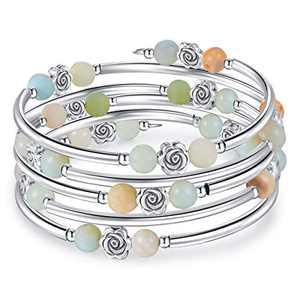 kese Chakra Bracelet, Multilayer Turquoise Bracelet Women Crystal Bracelet Natural Stone Bangle for Girls (Color L)