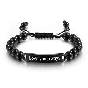 kaululu Name Personalized Custom Bracelet for Men Cool Leather Engraved Name Date Customized Bracelets for Women Men