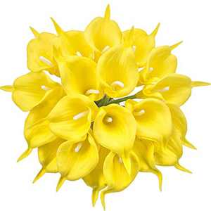 Kaimimei's Artificial Calla Lily Bridal Wedding Bouquet Fake Lataex real touch flower 20 pcs for Wedding Party Home Decoration(Yellow)(vase not Include)