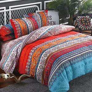 Shatex Twin Comforter Sets Bedding Comforter Sets Twin Comforter Sets 2 Pieces Boho Pattern Set– Ultra Soft 100% Microfiber Polyester – Boho Pattern Brown Comforter with 1 Pillow Shams
